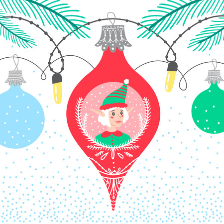 Christmas winter border card background with colorful bubbles featuring new year character elf helper Ilustração