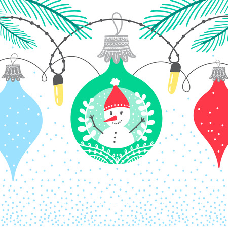 Christmas winter border card background with colorful bubbles featuring new year character snow man