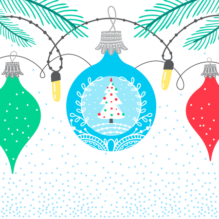 Christmas winter border card background with colorful bubbles featuring new year x-mas tree.