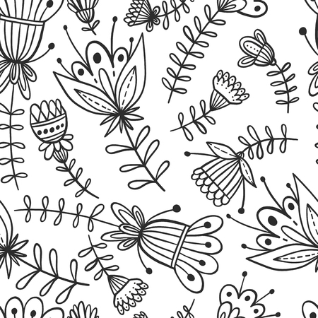Seamless floral pattern background. Zentangle flower nature illustration.Black and white doodle repeats for fabrics and packaging.