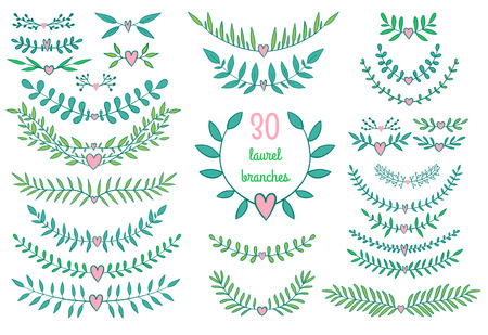 Vintage vector decorative nature brances for laurels and frames. Colorful floral elements for wedding invitations and love greeting cards.