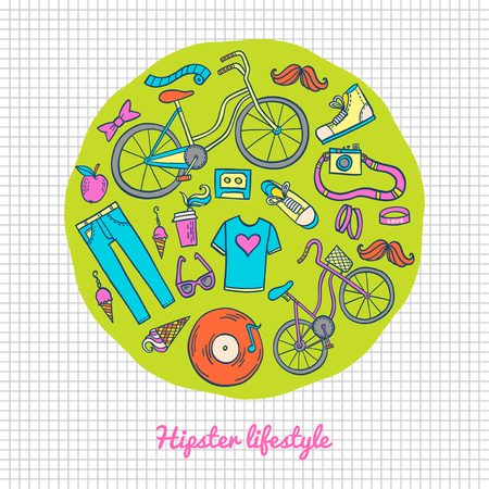 Hipster lifestyle colorful doodle background. Hand drawn vector illustration collection with bicycle, ice cream, t-shirt, apple, mustache and coffee.
