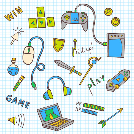 Gaming and web technology icon collection. Vector doodle illustration with game devices