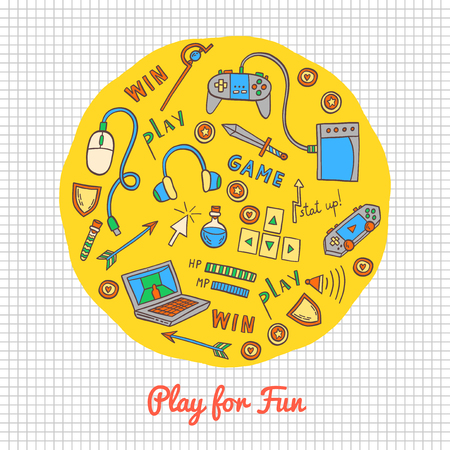 Gaming and web technology icon background. Vector doodle illustration with game devices