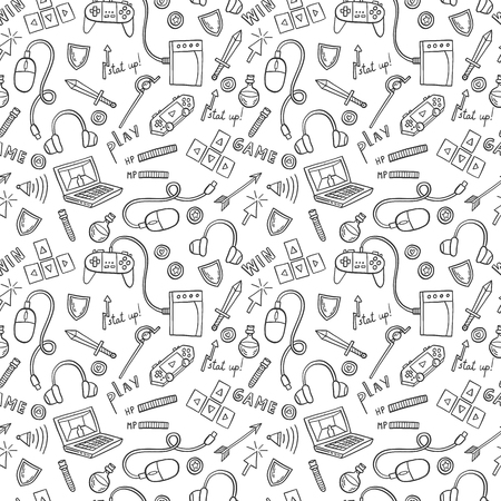 Gaming and web technology seamless pattern backgound. Vector doodle illustration with game devices