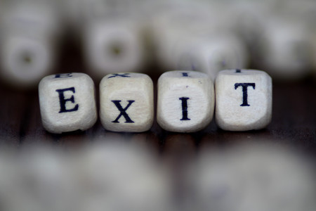 emergency stair: Exit word written on wood cube
