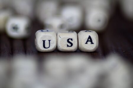 USA sign made of wooden cubes