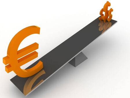 Balance between Dollar and Euro currencies, 3D illustration illustration