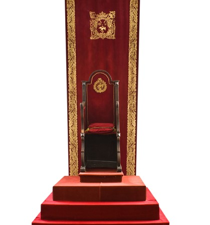 Empty royal throne of Constantin Brancoveanu isolated on white photo