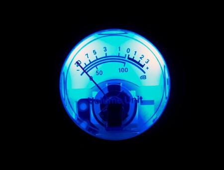 Blue vu meter isolated on black photo
