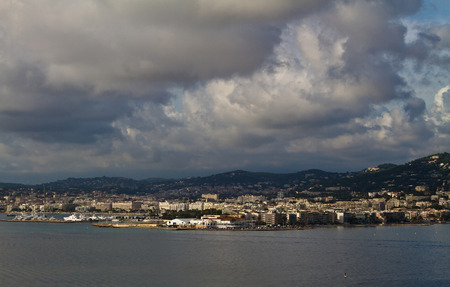 Port panorama on cloudy day