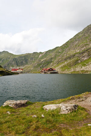 Landscape from Balea Lake, Fagaras Mountains, Romania in the summer photo