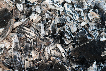 embers: Ash and embers of bonfire after barbecue cooking
