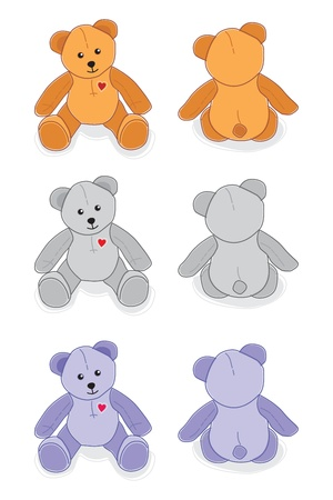 sitting teddy bear, three colors, front and back