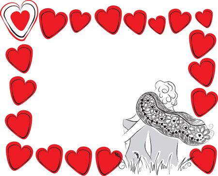 devotion: frame of a pair of hearts and love Illustration