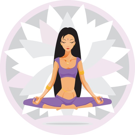 girl sits and meditates Stock Vector - 12565941