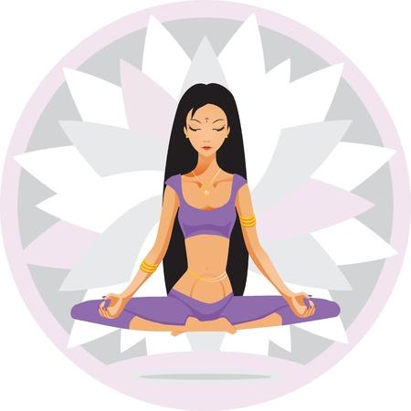 meditates: girl sits and meditates Illustration