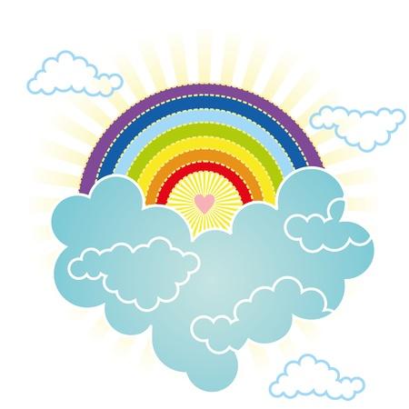 bondad: el corazón se eleva en el cielo de arco iris en las nubes