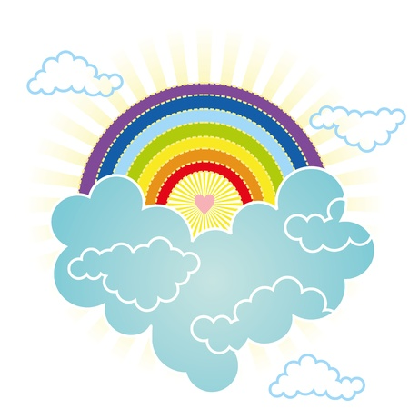 heart soars in the sky rainbow in the clouds Stock Vector - 12565940