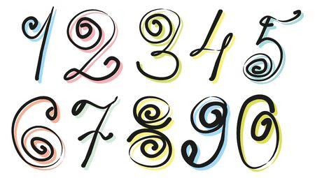 substrate: Beautiful d�gitos escritos a mano con remolinos sobre los sustratos de colores