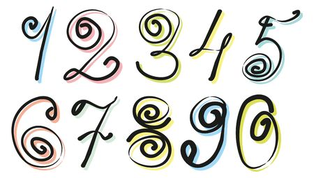 Beautiful handwritten digits with swirls on the colored substrates