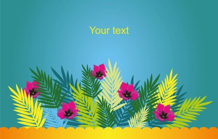 background on the sea palm fronds and tropical flowers Çizim