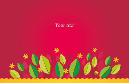 Spring border of green leaves and orange flowers on a beautiful red background Illustration