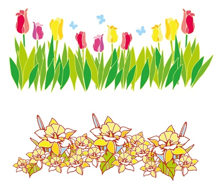 border of spring flowers with green leaves Vector