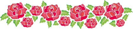 rose garden: border of red roses and green leaves
