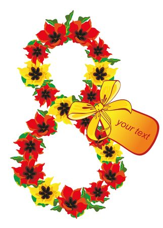 women s day: figure eight paved with red and yellow tulips with a bow and a note