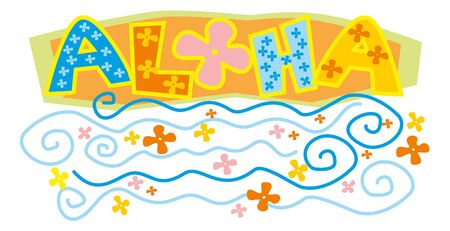 sign aloha with flowers and waves