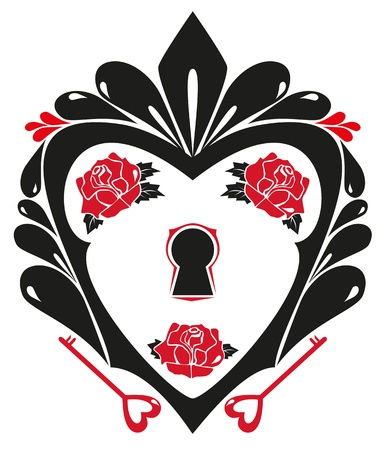 black heart with a keyhole, keys, and red roses