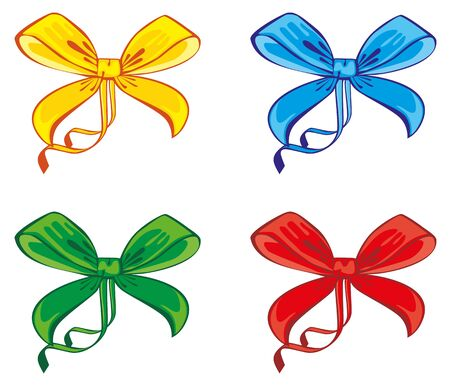 four different colored bow