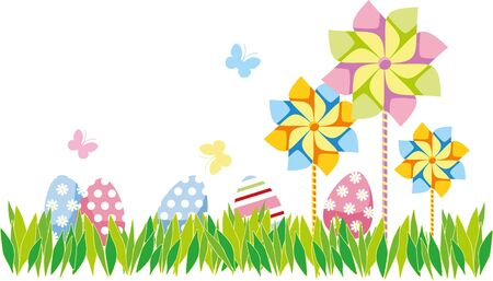 striking the curb with grass, beautiful Easter eggs and spinners Illustration