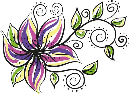 tropical flower with leaves and tendrils Illustration