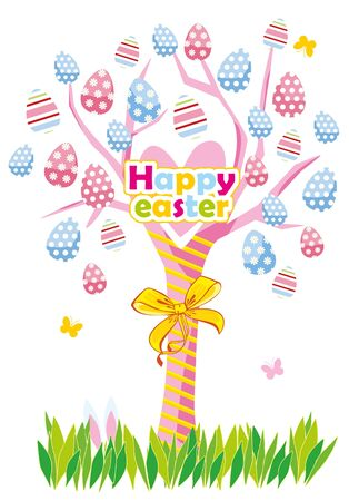Easter greeting card with a tree and easter eggs Illustration