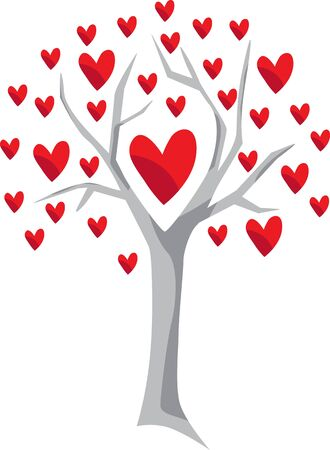 The tree grows a lot of hearts Çizim
