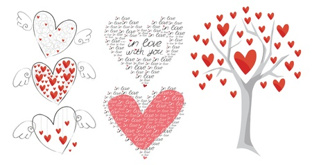 several hearts and tree of love Stock Vector - 13194147