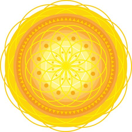 chakra energy: golden circle mandala with ornament