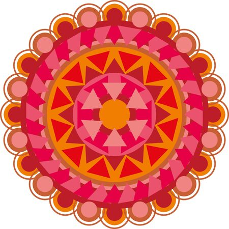 mandala is a red circle with an ornament