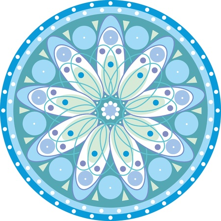 blue circle with a mandala patterns