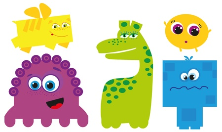 funny monster: group of cute colorful little monsters Illustration