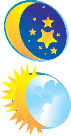 sonne mond und sterne: der Nachthimmel, wo Sterne leuchten und der Mond Sonne während des Tages mit Wolken bedeckt Illustration