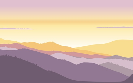 sunrise or sunset in the mountains, a top view of the distance Illustration
