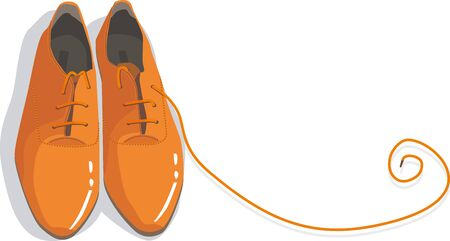 orange shoes with a curl of the laces