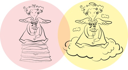 black and white outline of an angel on a cloud and the Princess and the Pea sitting on cushions