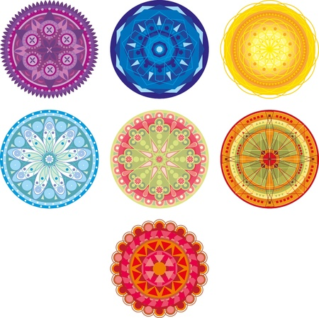 seven chakra colored circle with ornament Vector