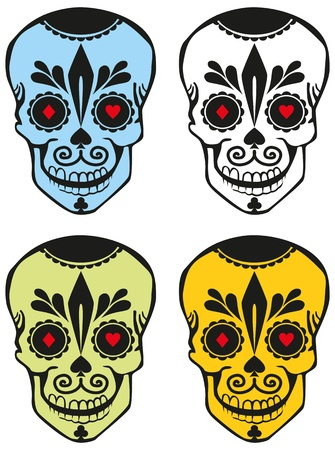 four differently colored sugar skulls with the symbols of playing cards Illustration