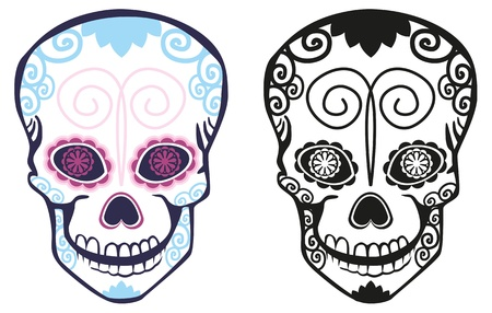 sugar skull: Figure sugar skulls with patterns Illustration