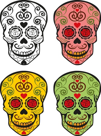 curlicues: four different colors of sugar skulls